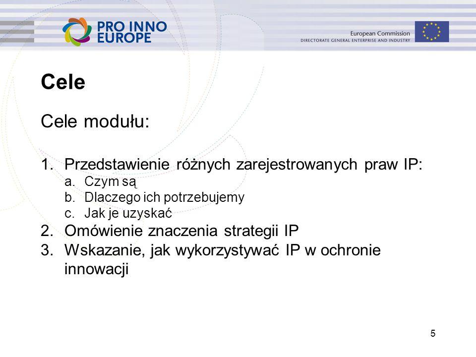 5 Cele Cele modułu: 1.Przedstawienie różnych zarejestrowanych praw IP: a.Czym są b.Dlaczego ich potrzebujemy c.Jak je uzyskać 2.Omówienie znaczenia st
