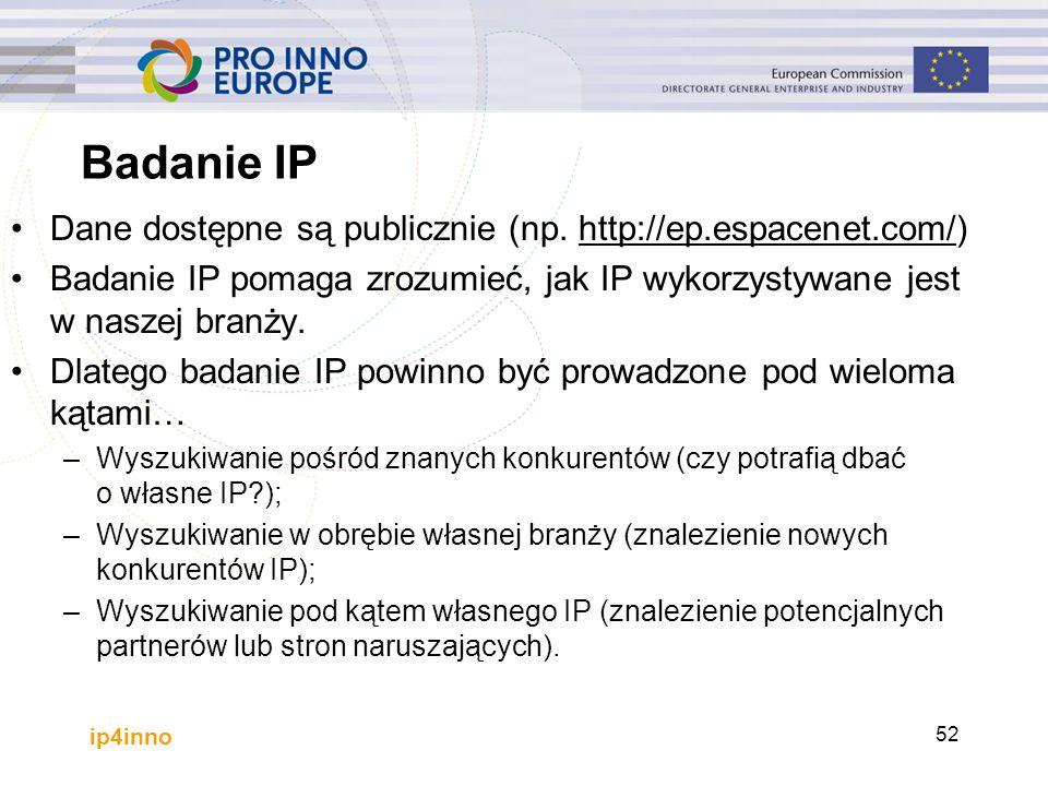Badanie IP Dane dostępne są publicznie (np. http://ep.espacenet.com/)http://ep.espacenet.com/ Badanie IP pomaga zrozumieć, jak IP wykorzystywane jest