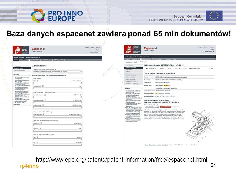 http://www.epo.org/patents/patent-information/free/espacenet.html Baza danych espacenet zawiera ponad 65 mln dokumentów! ip4inno 54