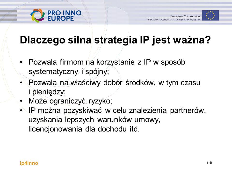 ip4inno 56 Dlaczego silna strategia IP jest ważna? Pozwala firmom na korzystanie z IP w sposób systematyczny i spójny; Pozwala na właściwy dobór środk