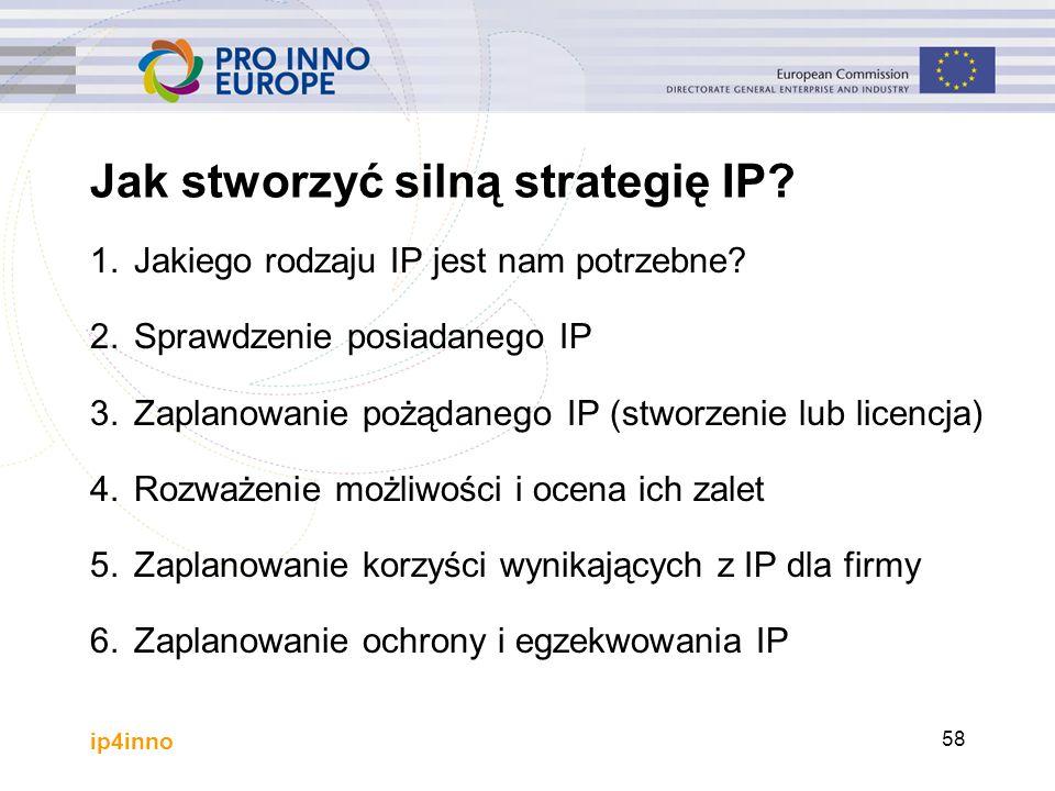 ip4inno 58 Jak stworzyć silną strategię IP? 1.Jakiego rodzaju IP jest nam potrzebne? 2.Sprawdzenie posiadanego IP 3.Zaplanowanie pożądanego IP (stworz