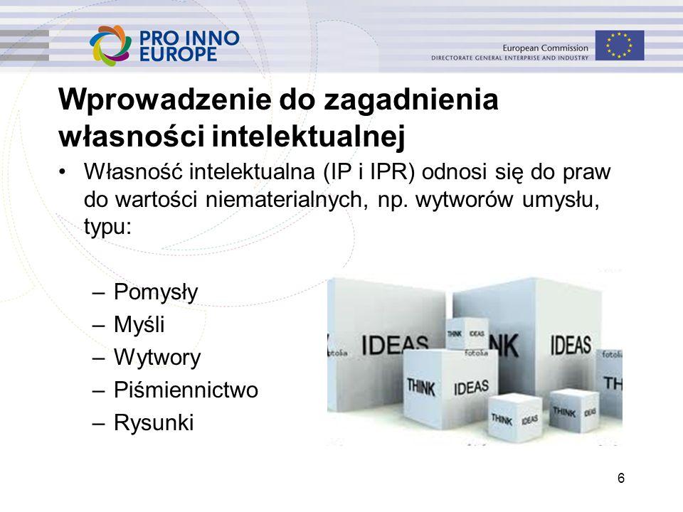 6 Wprowadzenie do zagadnienia własności intelektualnej Własność intelektualna (IP i IPR) odnosi się do praw do wartości niematerialnych, np. wytworów