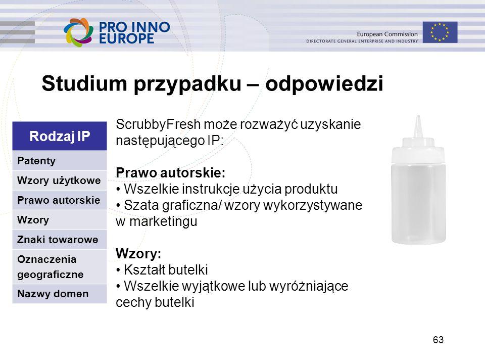 Studium przypadku – odpowiedzi 63 ScrubbyFresh może rozważyć uzyskanie następującego IP: Prawo autorskie: Wszelkie instrukcje użycia produktu Szata gr