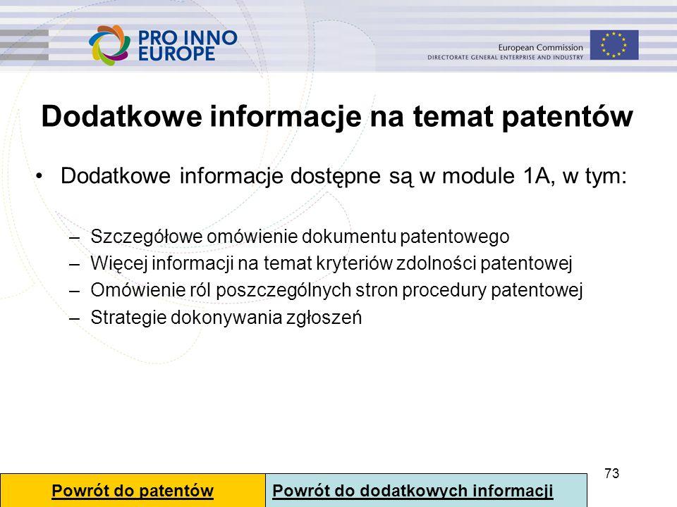 Dodatkowe informacje na temat patentów Dodatkowe informacje dostępne są w module 1A, w tym: –Szczegółowe omówienie dokumentu patentowego –Więcej infor