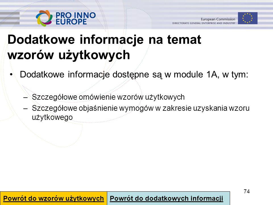 Dodatkowe informacje na temat wzorów użytkowych Dodatkowe informacje dostępne są w module 1A, w tym: –Szczegółowe omówienie wzorów użytkowych –Szczegó