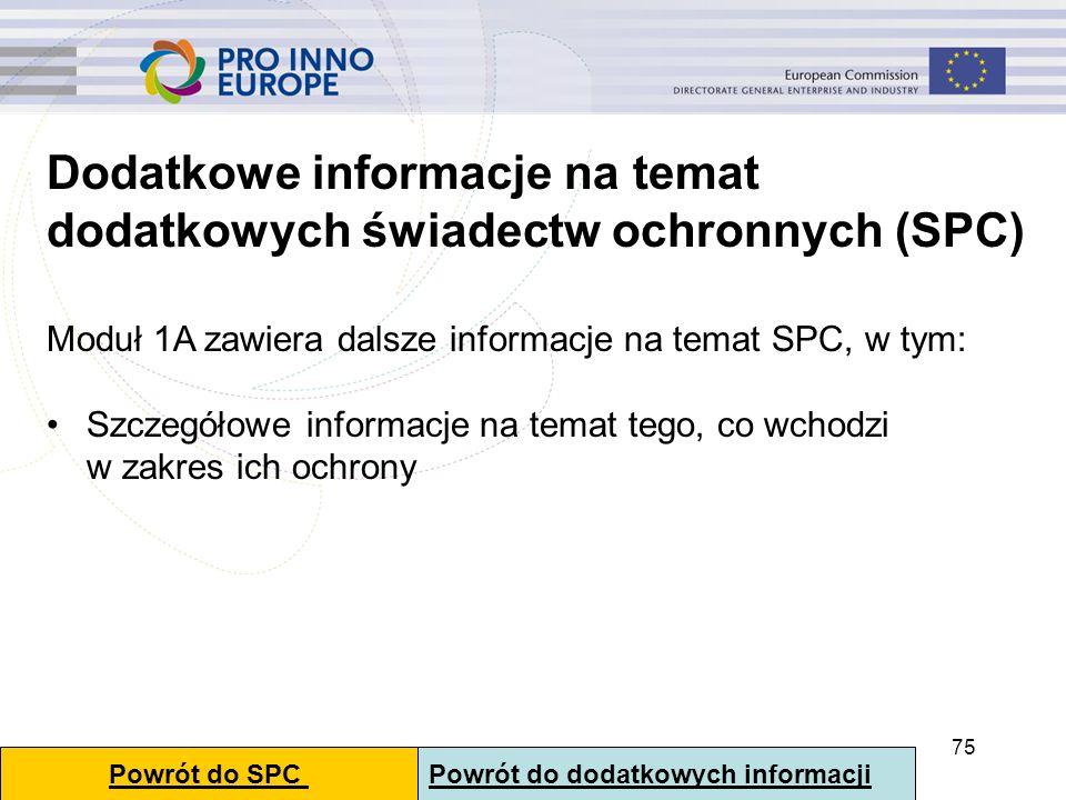 75 Dodatkowe informacje na temat dodatkowych świadectw ochronnych (SPC) Moduł 1A zawiera dalsze informacje na temat SPC, w tym: Szczegółowe informacje