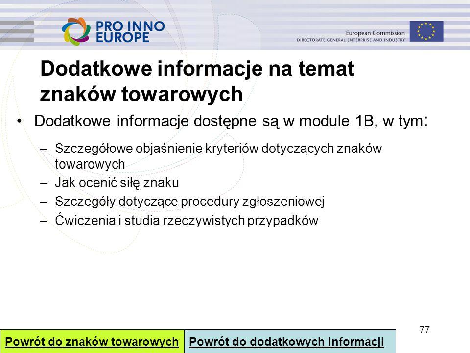 Dodatkowe informacje na temat znaków towarowych Dodatkowe informacje dostępne są w module 1B, w tym : –Szczegółowe objaśnienie kryteriów dotyczących z