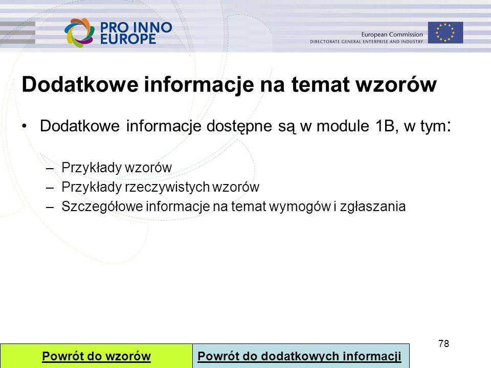 Dodatkowe informacje na temat wzorów Dodatkowe informacje dostępne są w module 1B, w tym : –Przykłady wzorów –Przykłady rzeczywistych wzorów –Szczegół