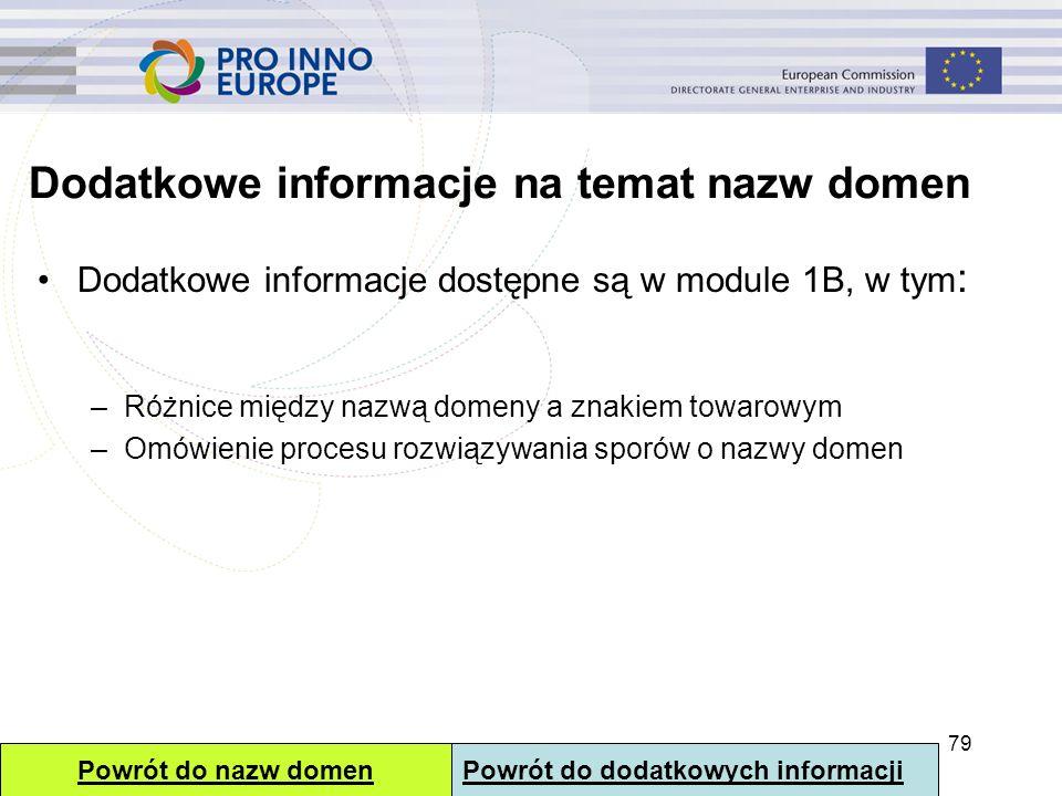 Dodatkowe informacje na temat nazw domen Dodatkowe informacje dostępne są w module 1B, w tym : –Różnice między nazwą domeny a znakiem towarowym –Omówi