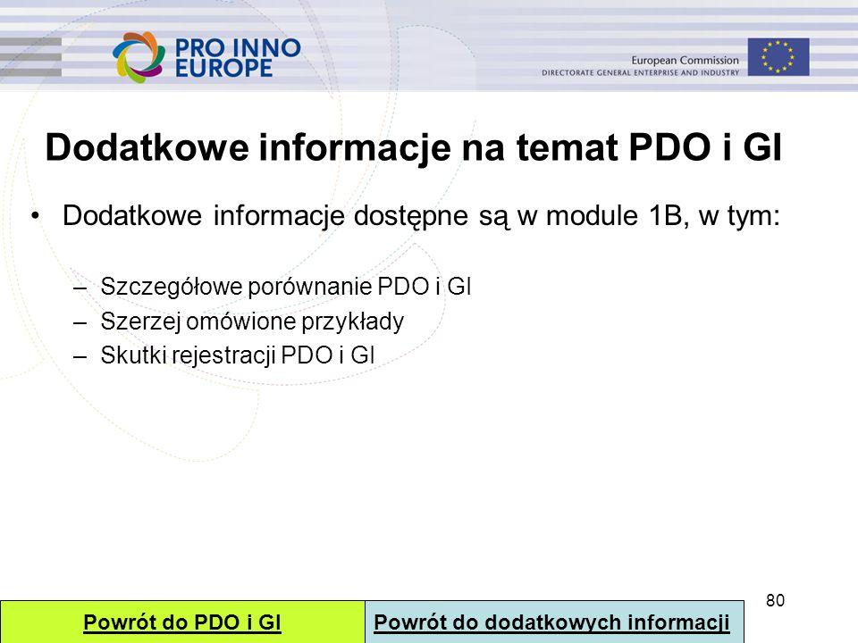 Dodatkowe informacje na temat PDO i GI Dodatkowe informacje dostępne są w module 1B, w tym: –Szczegółowe porównanie PDO i GI –Szerzej omówione przykła