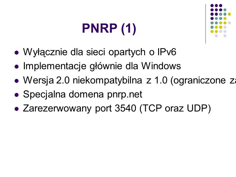 PNRP (1) Wyłącznie dla sieci opartych o IPv6 Implementacje głównie dla Windows Wersja 2.0 niekompatybilna z 1.0 (ograniczone zastosowanie) Specjalna domena pnrp.net Zarezerwowany port 3540 (TCP oraz UDP)