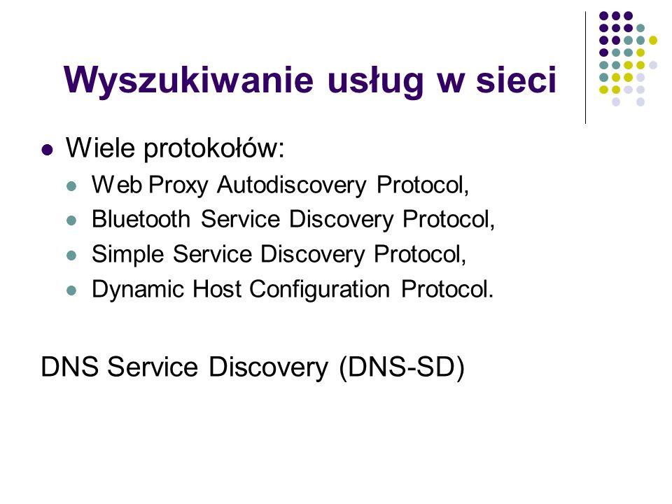 Wyszukiwanie usług w sieci Wiele protokołów: Web Proxy Autodiscovery Protocol, Bluetooth Service Discovery Protocol, Simple Service Discovery Protocol, Dynamic Host Configuration Protocol.
