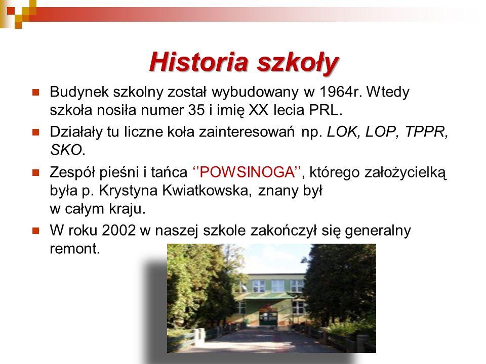 Historia szkoły Budynek szkolny został wybudowany w 1964r. Wtedy szkoła nosiła numer 35 i imię XX lecia PRL. Działały tu liczne koła zainteresowań np.