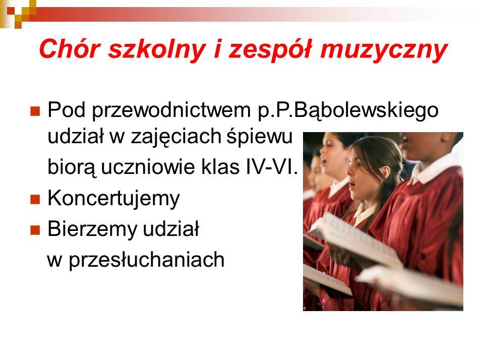Pod przewodnictwem p.P.Bąbolewskiego udział w zajęciach śpiewu biorą uczniowie klas IV-VI. Koncertujemy Bierzemy udział w przesłuchaniach Chór szkolny