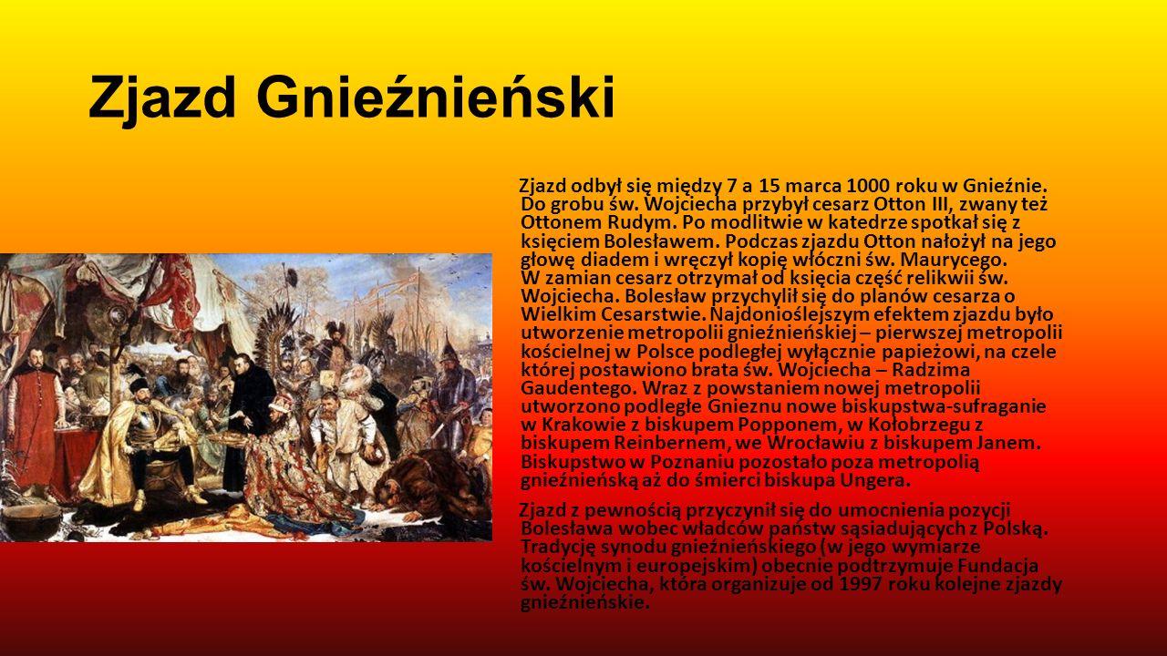 Chrzest Polski Chrzest był doniosłym wydarzeniem dla młodego państwa - Mieszko I stawał się władcą równym innym władcą europejskim, a przybycie do pań