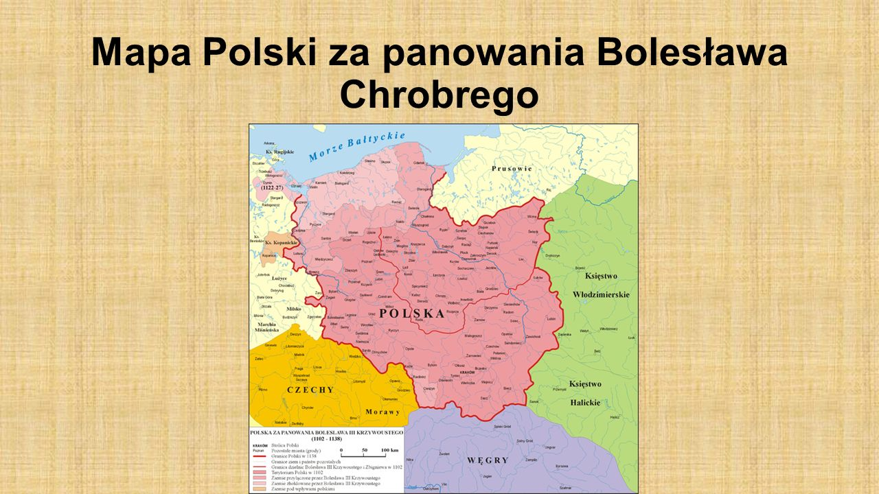 Mapa Polski za panowania Bolesława Chrobrego
