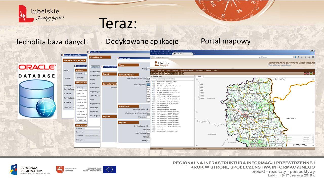 Teraz: Jednolita baza danych Dedykowane aplikacje Portal mapowy