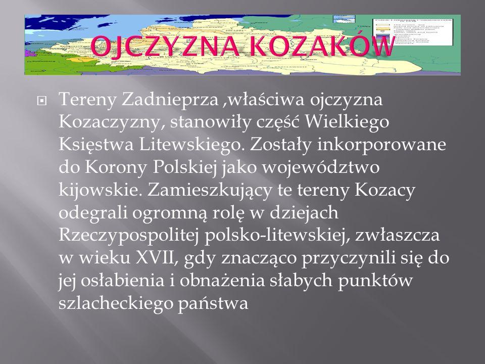  Tereny Zadnieprza,właściwa ojczyzna Kozaczyzny, stanowiły część Wielkiego Księstwa Litewskiego. Zostały inkorporowane do Korony Polskiej jako wojewó