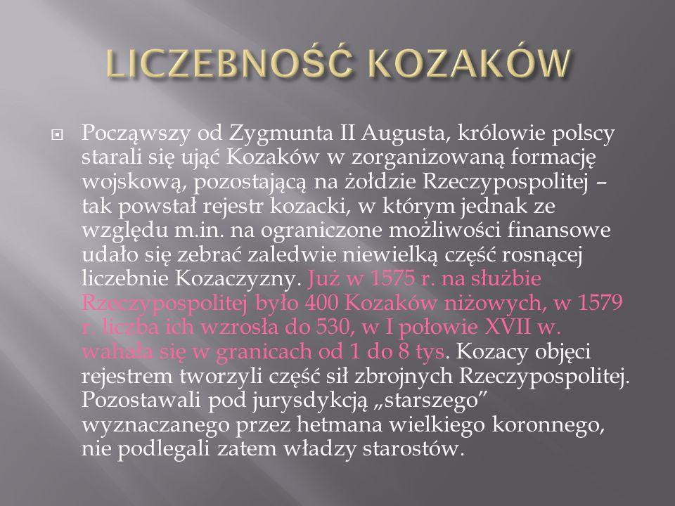  Począwszy od Zygmunta II Augusta, królowie polscy starali się ująć Kozaków w zorganizowaną formację wojskową, pozostającą na żołdzie Rzeczypospolitej – tak powstał rejestr kozacki, w którym jednak ze względu m.in.
