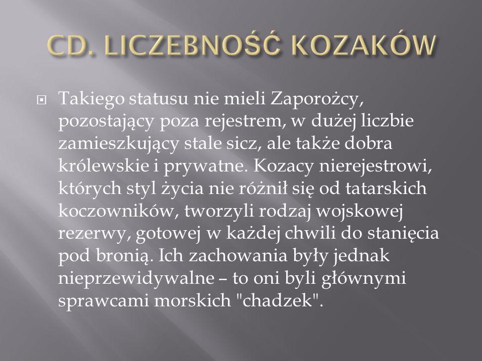  Takiego statusu nie mieli Zaporożcy, pozostający poza rejestrem, w dużej liczbie zamieszkujący stale sicz, ale także dobra królewskie i prywatne. Ko