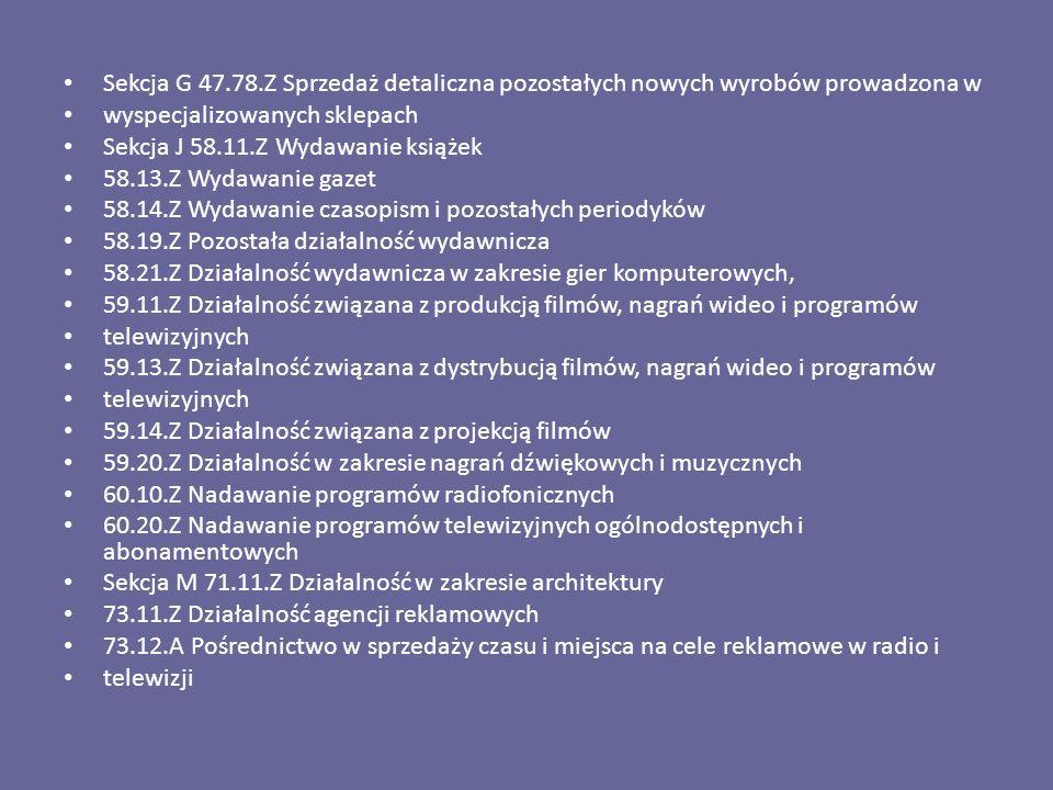Sekcja G 47.78.Z Sprzedaż detaliczna pozostałych nowych wyrobów prowadzona w wyspecjalizowanych sklepach Sekcja J 58.11.Z Wydawanie książek 58.13.Z Wy