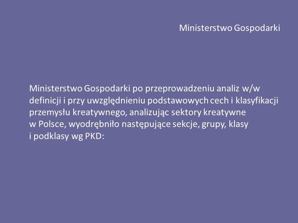 Ministerstwo Gospodarki Ministerstwo Gospodarki po przeprowadzeniu analiz w/w definicji i przy uwzględnieniu podstawowych cech i klasyfikacji przemysłu kreatywnego, analizując sektory kreatywne w Polsce, wyodrębniło następujące sekcje, grupy, klasy i podklasy wg PKD: