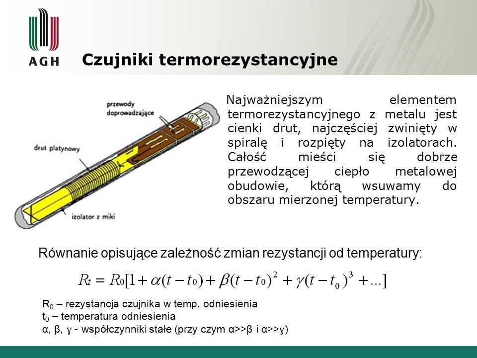 Czujniki termorezystancyjne Najważniejszym elementem termorezystancyjnego z metalu jest cienki drut, najczęściej zwinięty w spiralę i rozpięty na izolatorach.