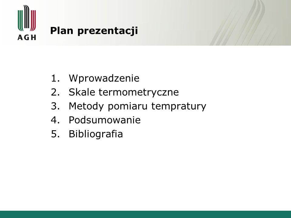 Plan prezentacji 1. Wprowadzenie 2. Skale termometryczne 3.