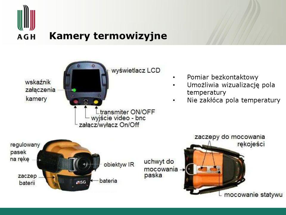 Kamery termowizyjne Pomiar bezkontaktowy Umożliwia wizualizację pola temperatury Nie zakłóca pola temperatury
