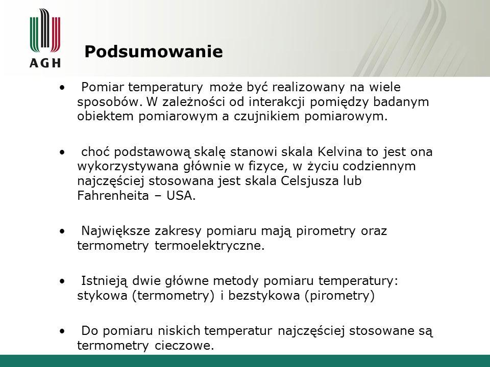 Podsumowanie Pomiar temperatury może być realizowany na wiele sposobów.