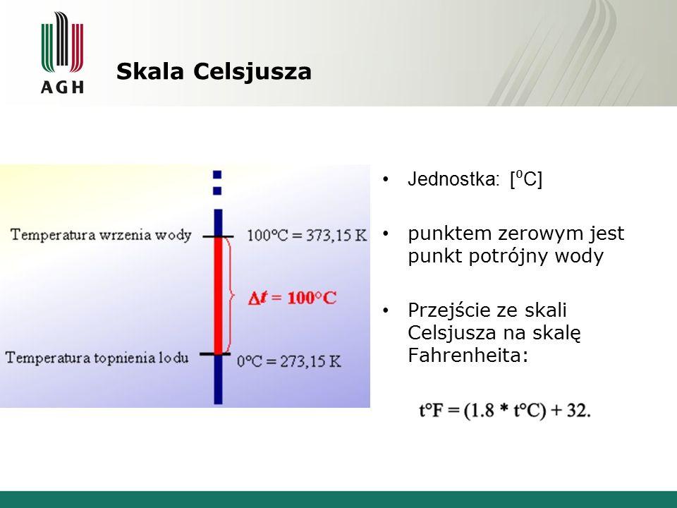 Skala Kelvina Jednostka: [K] Punktem zerowym w skali Kelvina jest 0 bezwzględne, odpowiadające temperaturze w skali Celsjusza -273.15 C W skali brak ujemnych temperatur T k = T c + 273,15 [K] Skala rzadko jest stosowana w praktyce meteorologicznej.