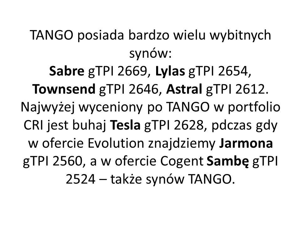 TANGO posiada bardzo wielu wybitnych synów: Sabre gTPI 2669, Lylas gTPI 2654, Townsend gTPI 2646, Astral gTPI 2612.