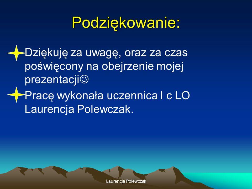 Laurencja Polewczak Podziękowanie: Dziękuję za uwagę, oraz za czas poświęcony na obejrzenie mojej prezentacji Pracę wykonała uczennica I c LO Laurencja Polewczak.