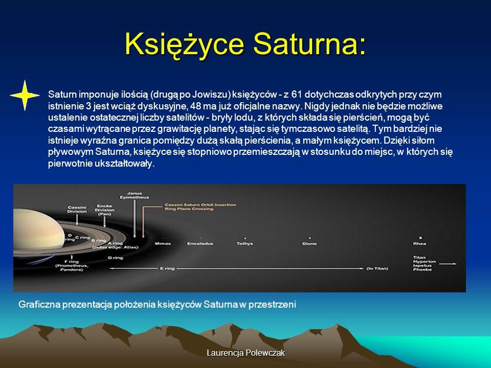 Laurencja Polewczak Księżyce Saturna: Saturn imponuje ilością (drugą po Jowiszu) księżyców - z 61 dotychczas odkrytych przy czym istnienie 3 jest wciąż dyskusyjne, 48 ma już oficjalne nazwy.