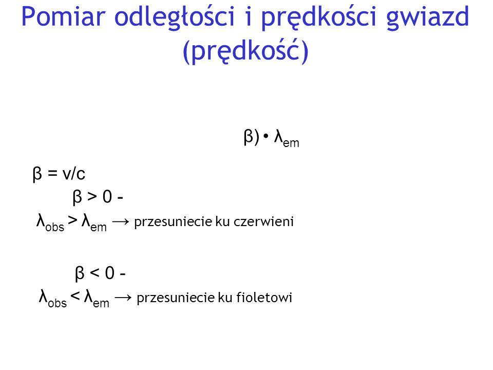 Pomiar odległości i prędkości gwiazd (prędkość) Wykorzystujemy zjawisko Dopplera dla światła: λ obs = √ (1+ β)/(1-β) λ em β = v/c Jeżeli β > 0 - źródło (gwiazda) oddala się → λ obs > λ em → przesuniecie ku czerwieni Jeżeli β < 0 - źródło (gwiazda) przybliża się → λ obs < λ em → przesuniecie ku fioletowi