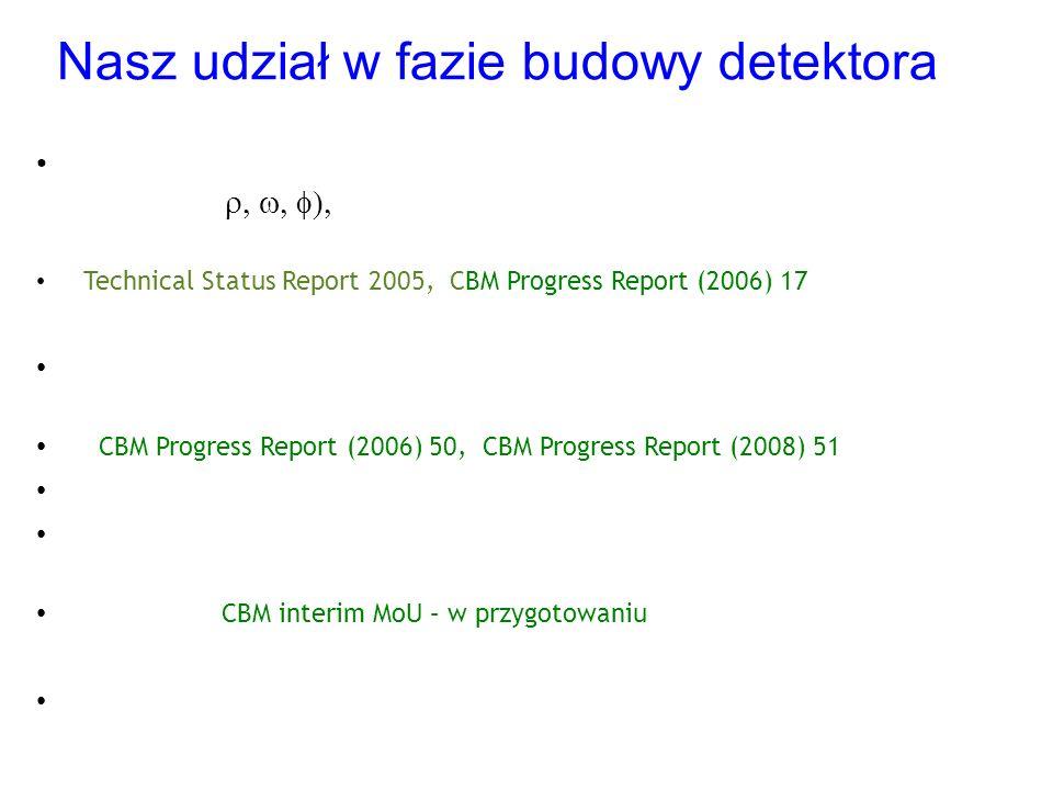 Nasz udział w fazie budowy detektora Projekt i optymalizacja układu detekcyjnego: symulacje możliwości pomiaru LMV (  poprzez ich rozpad na pary e + e - → optymalizacja geometrii STS Technical Status Report 2005, CBM Progress Report (2006) 17 Faza R&D: przygotowanie prototypowego zestawu do testów krzemowych detektorów paskowych (UJ, IFJ) CBM Progress Report (2006) 50, CBM Progress Report (2008) 51 Faza budowy detektora: testy oraz integracja modułów detektora STS → integracja całego detektora STS będzie odbywać się w GSI (UJ, IFJ, AGH) CBM interim MoU – w przygotowaniu Przewidywane rozpoczęcie pomiarów w 2016 roku