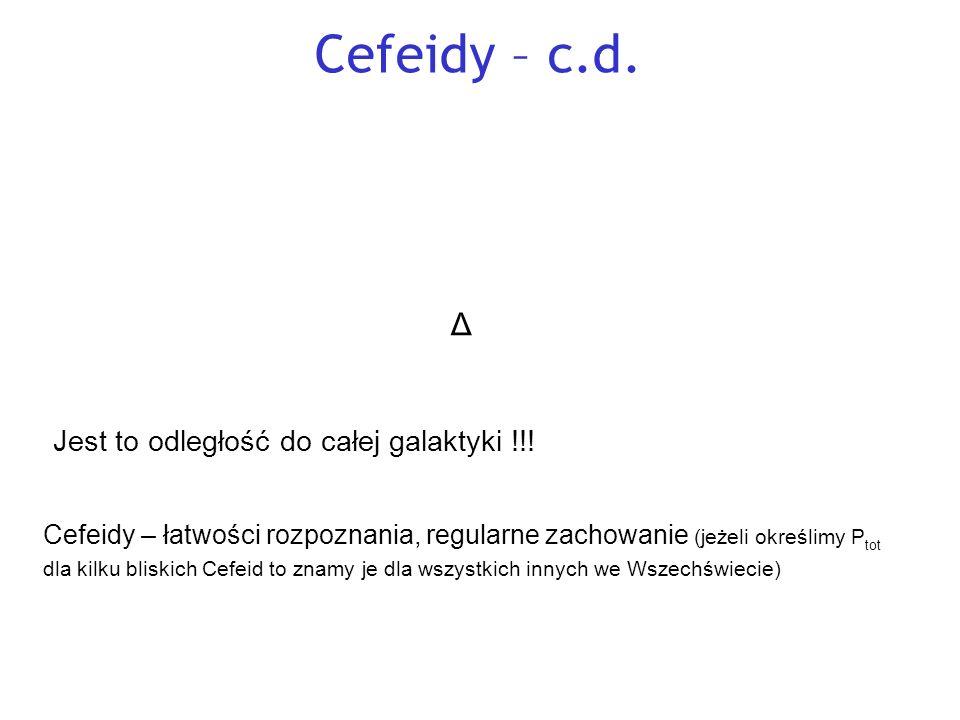 Cefeidy – c.d. Załóżmy, że wyznaczyliśmy P tot dla bliskiej Cefeidy.