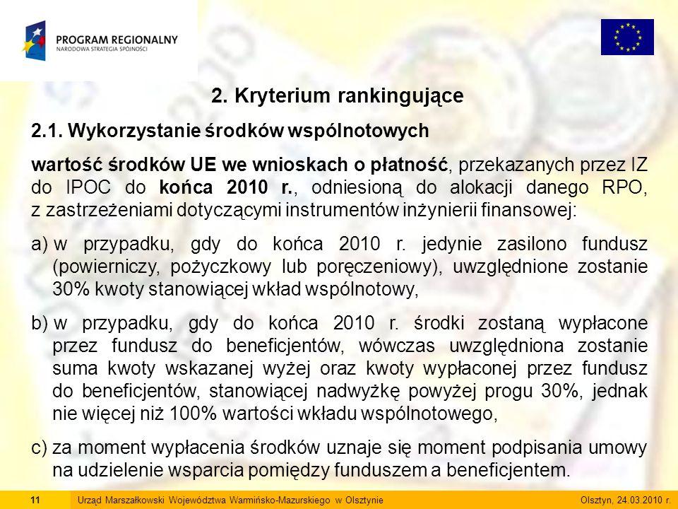 11Urząd Marszałkowski Województwa Warmińsko-Mazurskiego w Olsztynie Olsztyn, 24.03.2010 r. 2. Kryterium rankingujące 2.1. Wykorzystanie środków wspóln