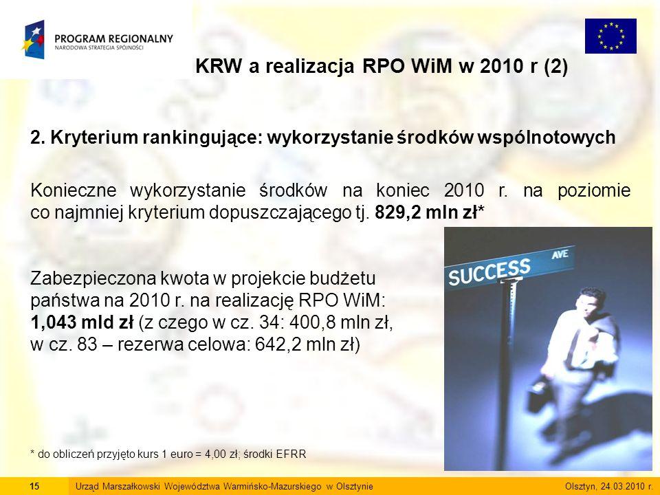 15Urząd Marszałkowski Województwa Warmińsko-Mazurskiego w Olsztynie Olsztyn, 24.03.2010 r. KRW a realizacja RPO WiM w 2010 r (2) 2. Kryterium rankingu