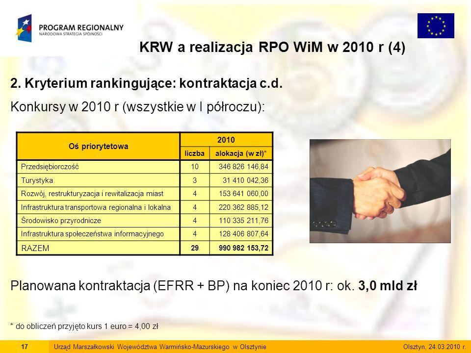 17Urząd Marszałkowski Województwa Warmińsko-Mazurskiego w Olsztynie Olsztyn, 24.03.2010 r. KRW a realizacja RPO WiM w 2010 r (4) 2. Kryterium rankingu