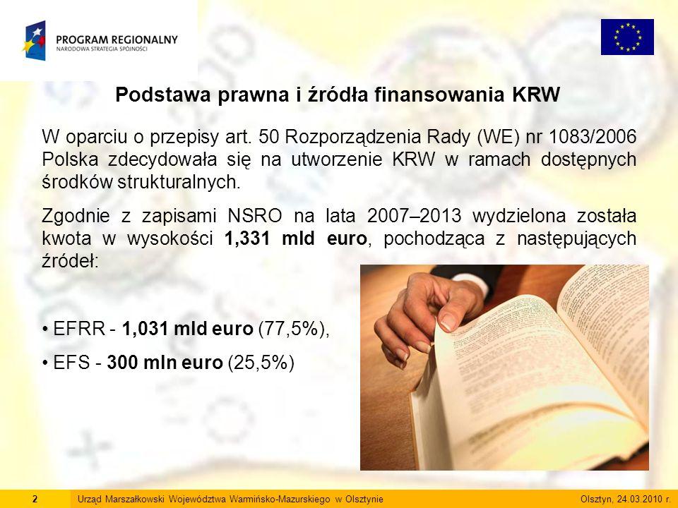 2 Podstawa prawna i źródła finansowania KRW W oparciu o przepisy art. 50 Rozporządzenia Rady (WE) nr 1083/2006 Polska zdecydowała się na utworzenie KR