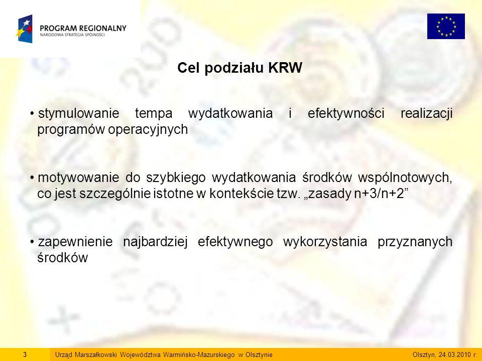 3Urząd Marszałkowski Województwa Warmińsko-Mazurskiego w Olsztynie Olsztyn, 24.03.2010 r. Cel podziału KRW stymulowanie tempa wydatkowania i efektywno
