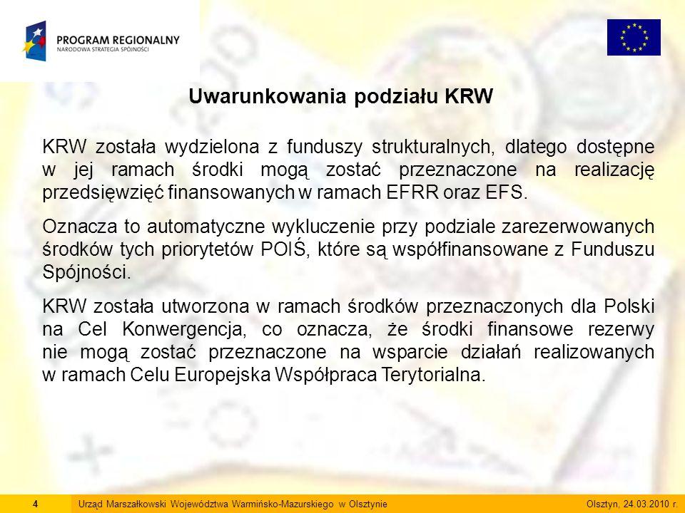 4Urząd Marszałkowski Województwa Warmińsko-Mazurskiego w Olsztynie Olsztyn, 24.03.2010 r. Uwarunkowania podziału KRW KRW została wydzielona z funduszy