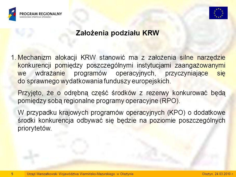 5Urząd Marszałkowski Województwa Warmińsko-Mazurskiego w Olsztynie Olsztyn, 24.03.2010 r. Założenia podziału KRW 1.Mechanizm alokacji KRW stanowić ma