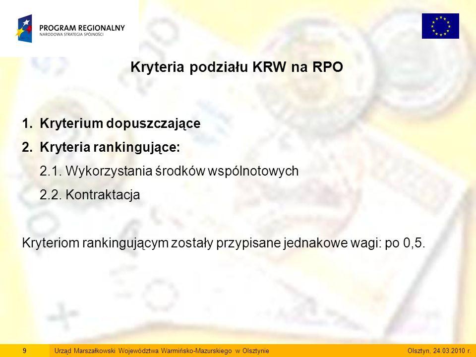 9Urząd Marszałkowski Województwa Warmińsko-Mazurskiego w Olsztynie Olsztyn, 24.03.2010 r. Kryteria podziału KRW na RPO 1.Kryterium dopuszczające 2.Kry