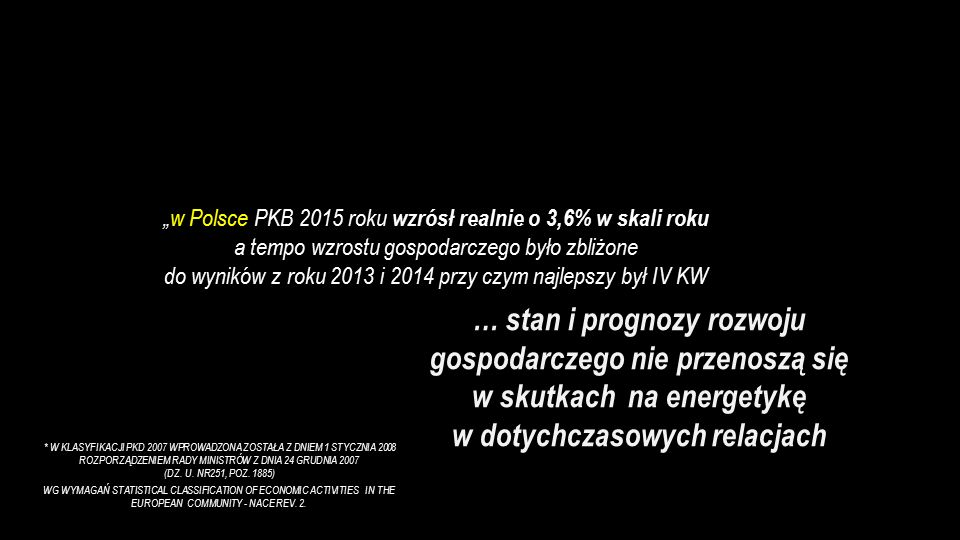 """""""w Polsce PKB 2015 roku wzrósł realnie o 3,6% w skali roku a tempo wzrostu gospodarczego było zbliżone do wyników z roku 2013 i 2014 przy czym najlepszy był IV KW … stan i prognozy rozwoju gospodarczego nie przenoszą się w skutkach na energetykę w dotychczasowych relacjach * W KLASYFIKACJI PKD 2007 WPROWADZONA ZOSTAŁA Z DNIEM 1 STYCZNIA 2008 ROZPORZĄDZENIEM RADY MINISTRÓW Z DNIA 24 GRUDNIA 2007 (DZ."""