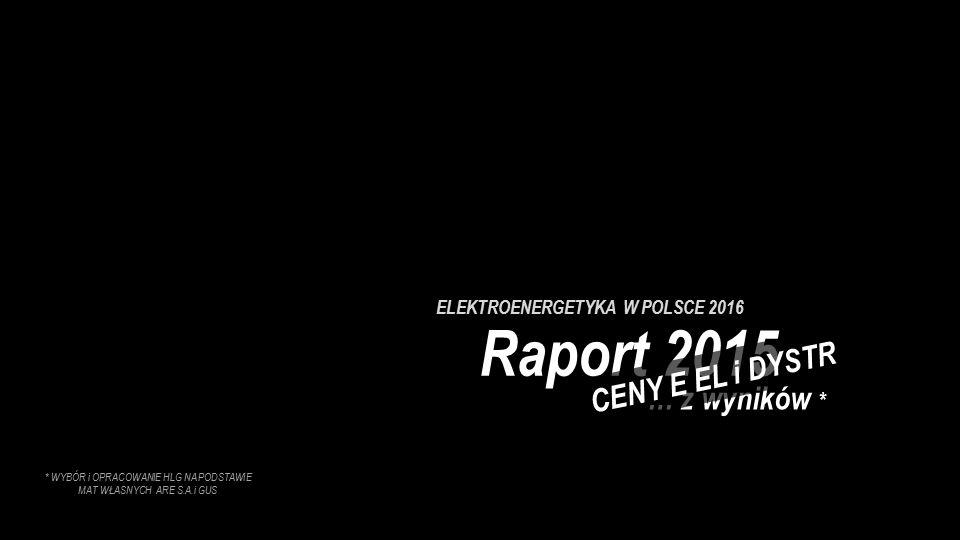 ELEKTROENERGETYKA W POLSCE 2016 Raport 2015 … z wyników * CENY E EL i DYSTR * WYBÓR i OPRACOWANIE HLG NA PODSTAWIE MAT WŁASNYCH ARE S.A.i GUS