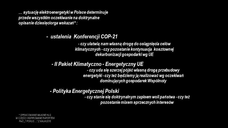 """… sytuację elektroenergetyki w Polsce determinuje przede wszystkim oczekiwanie na doktrynalne opisanie dziesięciorga wskazań* : - ustalenia Konferencji COP-21 - II Pakiet Klimatyczno - Energetyczny UE - Polityka Energetycznej Polski - czy ułatwią nam własną drogę do osiągnięcia celów klimatycznych - czy pozostanie kontynuacja kosztownej dekarbonizacji gospodarki wg UE - czy uda się szerzej pójść własną drogą przebudowy energetyki - czy też będziemy ją realizować wg oczekiwań dominujących gospodarek Wspólnoty - czy stanie się doktrynalnym zapisem woli państwa - czy też pozostanie mixem sprzecznych interesów * OPRACOWANIE WŁASNE HLG W CZĘŚCI INSPIROWANE RAPORTEM PwC """"7 POKUS … Z MAJA 2016"""