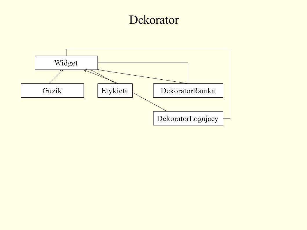 Dekorator Widget GuzikEtykietaDekoratorRamka DekoratorLogujacy