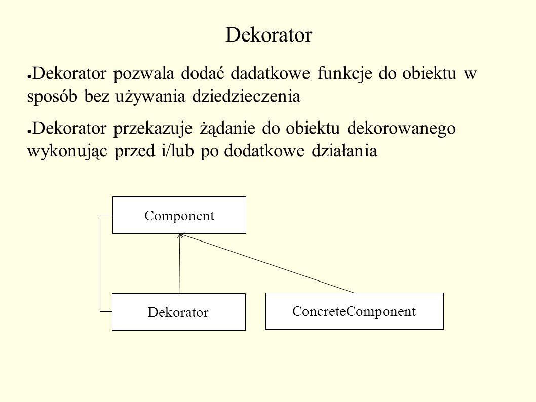 Dekorator ● Dekorator pozwala dodać dadatkowe funkcje do obiektu w sposób bez używania dziedzieczenia ● Dekorator przekazuje żądanie do obiektu dekorowanego wykonując przed i/lub po dodatkowe działania Component Dekorator ConcreteComponent